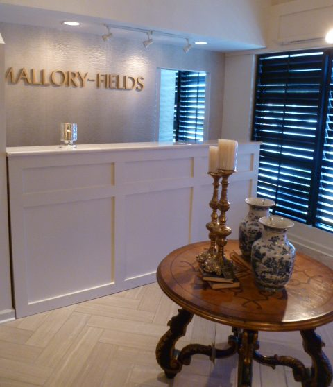 Mallory-Fields Interior Design reception desk inside the showroom